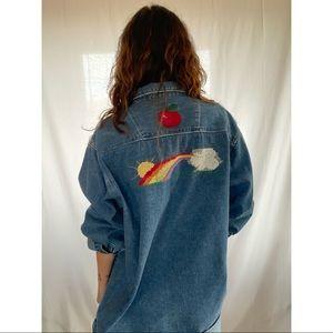 Hand Embroidered Vintage Denim Button Down Top 🌈🍎🦋